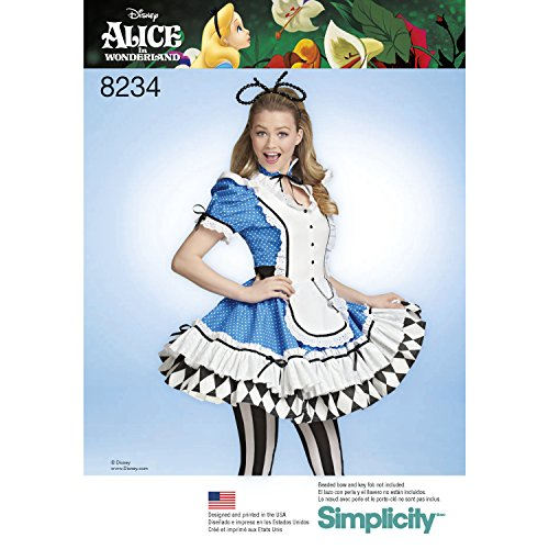 Simplicity Creative Patterns 8234 H5 Misses' Alice in Wonderland Cosplay Costume Pattern, Size 6-8-10-12-14