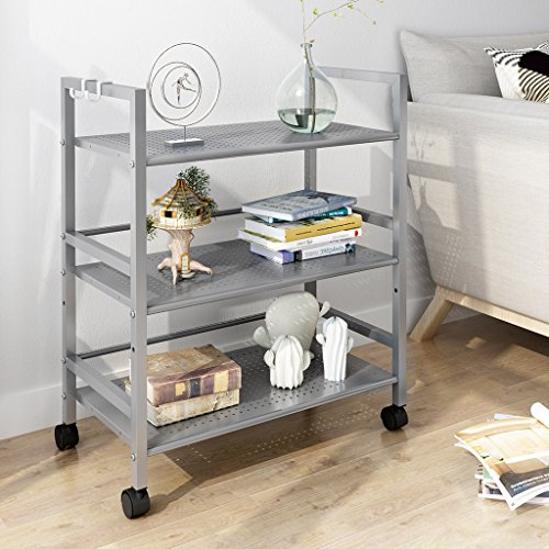 LANGRIA 3-Tier Kitchen Storage Cabinet Cart, Island Trolley Cart Wire Mesh Rolling Cart for Serving Utility Organization with Easy Moving Flexible Wheels, 66 lbs Weight Capacity, Silver Island Mini Frame