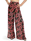 Dimildm Beach Pants for Women, Casual Loose Mesh Split Flowy Summer Vacation Palazzo Pants with Shorts Lined Red Medium