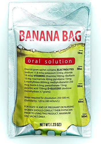 Banana Bag Oral Solution Electrolyte Vitamin Powder Packet for Reconstitution in Water to Drink 15