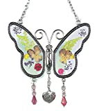 Banberry Designs Love Butterfly Suncatcher with Real Pressed Flower Wings in Glass and Silver Metal Heart Shaped Engraved Charm - Gift for a Loved One Wife Girlfriend Fiance Valentine's Day