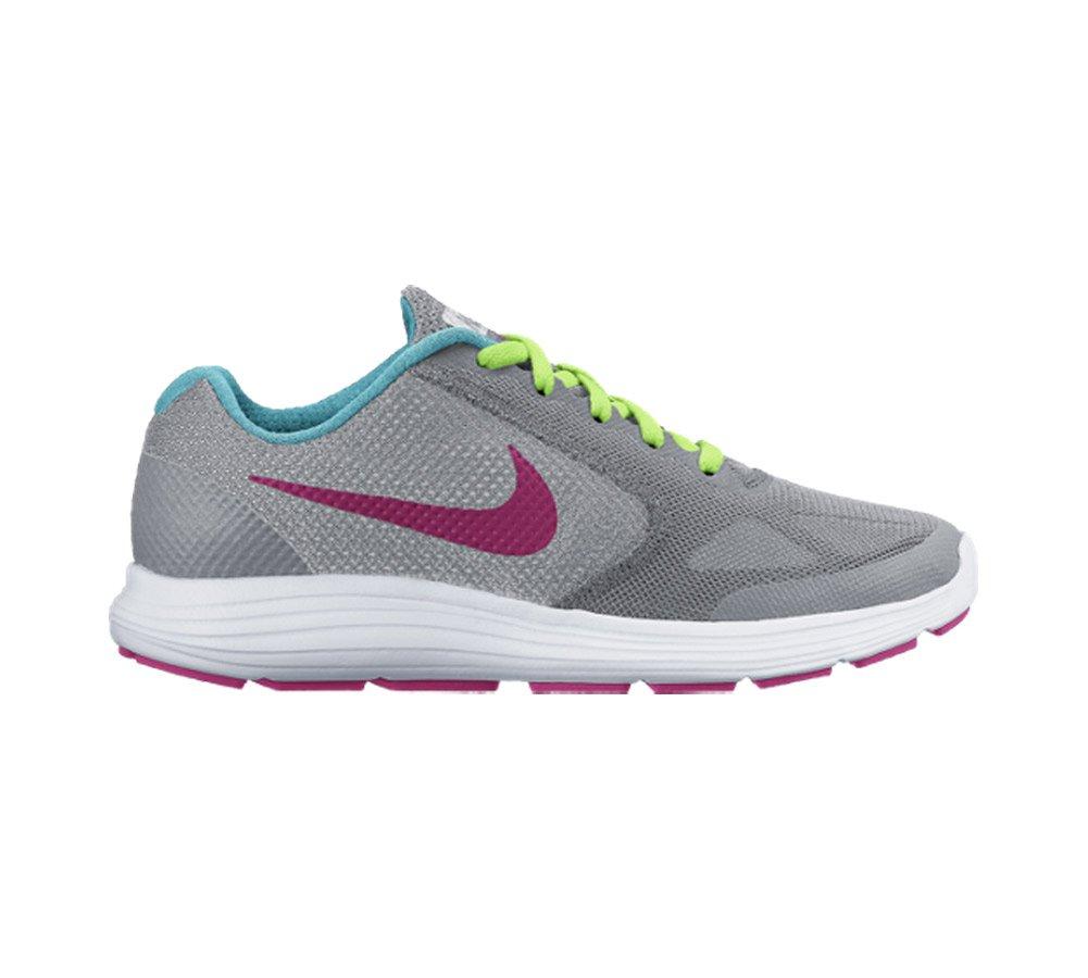 NIKE ' Revolution 3 (GS) Running Shoes B008UNZH9I 3.5 M US Big Kid|Wolf Grey/Vivid Pink/White/Ghost Green
