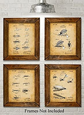 Original Fly Fishing Lures Patent Art Prints - Set of Four Photos (8x10) Unframed - Great Gift for Fly Fisherman, Cabin or Lake House