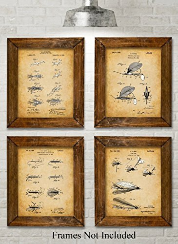 Original Fly Fishing Lures Patent Art Prints - Set of Four Photos (8x10) Unframed - Great Gift for Fly Fisherman, Cabin or Lake House - Medium Antique Brown Blades