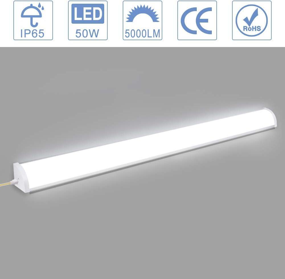 Viugreum 50W 3FT LED Wraparound Light, LED Shop Light for Office, Garage, 5000LM 6500K Daylight White LED Ceiling Lights, IP65 Waterproof Commercial Flushmount Ceiling Light for Home Bathroom Kitchen
