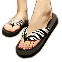 ZHOUZJ Bohemia Beach Sandals Wedge Platform Thongs Slippers Flip Flops Women