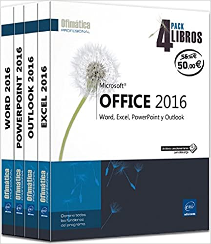 Pack de 4 Libros: Word, Excel, Powerpoint y Outlook