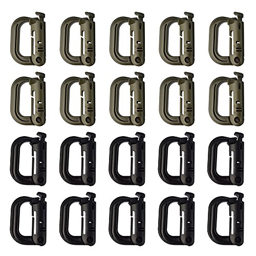 Yookat 20Pack Multipurpose D-Ring Grimloc Locking for Molle Webbing Plastic Buckle Hanging Hook Spring Snap Key Chain (10Pcs Black+10pcs Green) by Yookat