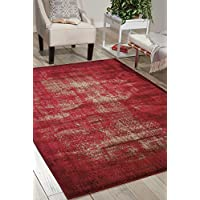 Nourison Karma (KRM01) Red Rectangle Area Rug, 5-Feet 3-Inches by 7-Feet 4-Inches (53 x 74)