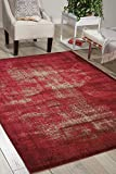 Nourison Karma (KRM01) Red Rectangle Area Rug, 5-Feet 3-Inches by 7-Feet 4-Inches (5'3'' x 7'4'')