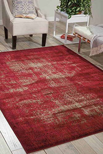 Nourison Karma (KRM01) Red Rectangle Area Rug, 5-Feet 3-Inches by 7-Feet 4-Inches (5'3'' x 7'4'') by Nourison