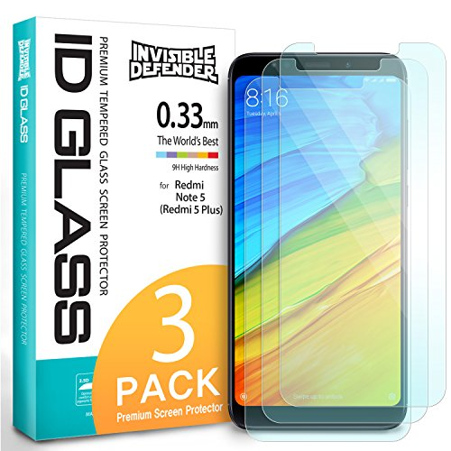 Price comparison product image Xiaomi Redmi Note 5 / Redmi 5 Plus Tempered Glass Screen Protector - Ringke Invisible Defender [3-Pack] Case Compatible Ultimate Clear Shield, High Definition Quality, 9H Hardness Technology