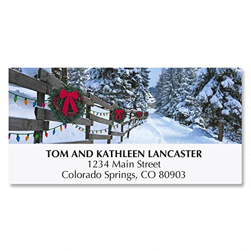 Forest Lane Personalized Christmas Address Labels - Set of 48, self-stick