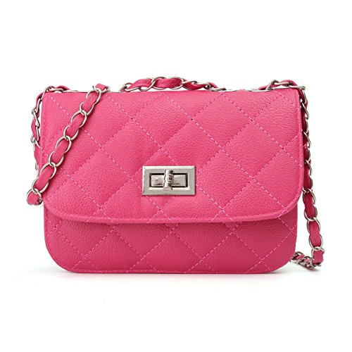 OURBAG Women Leather Quilted Cross Body Shoulder Purse Evening Handbag Chain Strap Rose Red Medium