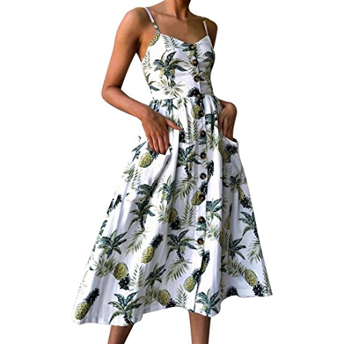 Sunward Women Boho V Neck Button Up Floral Print Maxi Dress Spaghetti Strap Swing Casual Sundress (White, L) (Sundress V-neck Print)