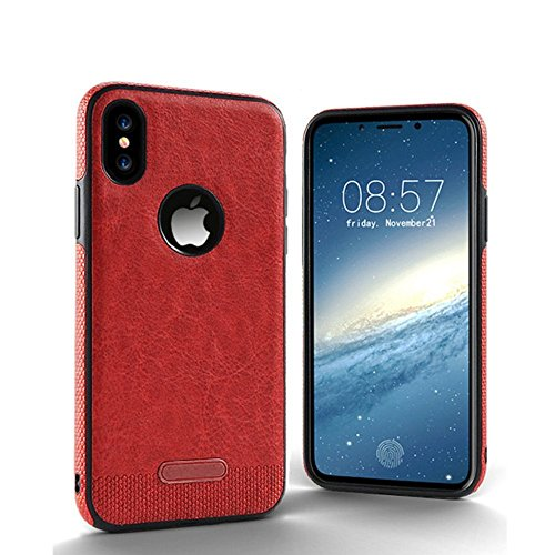 5SR iPhone X Case [Premium Materials] with Anti-Slip Grip, Super Soft PU Leather and Durable Slim Phone Case Technology Protects Apple iPhone 10 From Scratches, Cracks, and Dents [Rustic Red] (Slim Super Leather)