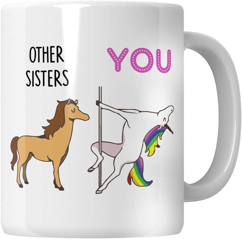 WG - Regalos para hermanas, regalos de cumpleaños para hermanas, hermana mayor, regalos de hermana divertida, taza de regalo