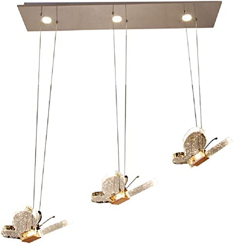 LgoodL Modern Minimalist 3 Heads Restaurant Iron Chandelier Led Crystal Butterfly Creative Personality Bar Dining Room Meal Hanging Lamps White Light