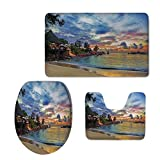 iPrint Widen,Tropical Decor,Cafe on Tropical Beach at Sunset Hotel Restaurant Luxury Cliff Romance Lagoon Decorative,3 Piece Extended Bath mat Set