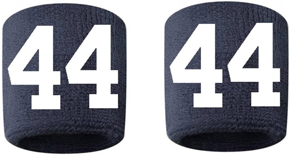 #44 Embroidered/Stitched Sweatband Wristband NAVY BLUE Sweat Band w/ WHITE Number (2 Pack) 51X92qo12BsL