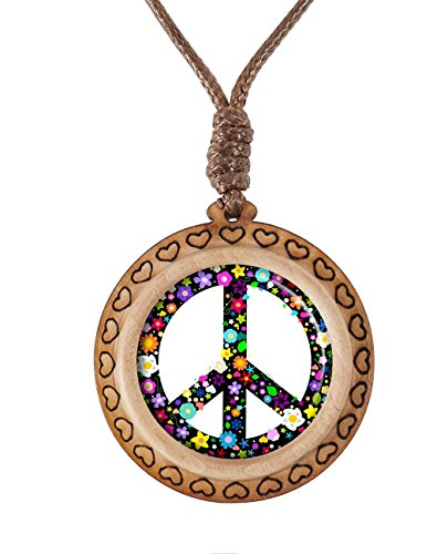 (Supremecom Hippie Flowery Peace Sign Custom Original Wooden Handmade Glass Pendant Adjustable Necklace)