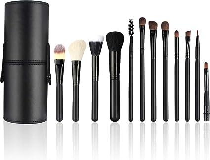 Brochas de Maquillaje Profesional, 12 Piezas Pinceles de Maquillaje Set para Sombra de Ojos, Colorete, Polvo y Cejas con Bolsa de Viaje: Amazon.es: Belleza