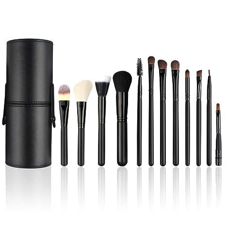 Brochas de Maquillaje Profesional, 12 Piezas Pinceles de Maquillaje Set para Sombra de Ojos, Colorete, Polvo y Cejas con Bolsa de Viaje