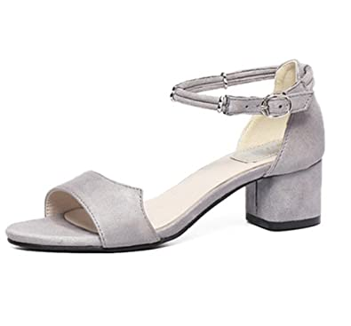435481d111d Womens Ladies Summer Ankle Strap Chunky Low Mid Block Heel Shoes Buckle  Sandals 5.5 UK Grey