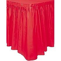 Unique Party- Falda de mesa de plástico, Color rojo, 420 cm (50053 ...