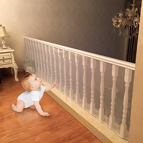 Shavow Child Safety Net – 10ft x2.5ft, Rail Balcony Banister Stair Net Safety for Kids Toys Pets, Safe for Indoor, Outdoor, Patios or Balcony Use