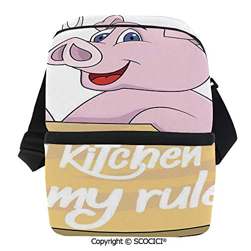 SCOCICI Insulated Lunch Cooler Bag Pig Chef Holding BBQ Barbeque Fork Tongs Fast Food Mascot Character Grill Wood Menu Reusable Lunch for Men Women Heat Insulation,Heat Protection ()