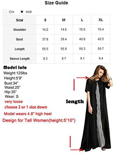 196a9430f11 Romwe Women s Loose Dress Short Sleeve Pocket Flowy Party Maxi Dress Black M