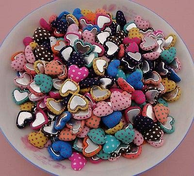 (FidgetFidget Heart Buttons Polka dot Fabric Wrapped Heart Buttons with Flatback,Polka 100pcs)