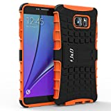 Galaxy Note 5 Case, J&D [Armor Protection] Samsung Galaxy Note 5 [Heavy Duty] [Triple Layer] Hybrid Shock Proof Fully Protective Case for Samsung Galaxy Note 5 (Kickstand Orange)