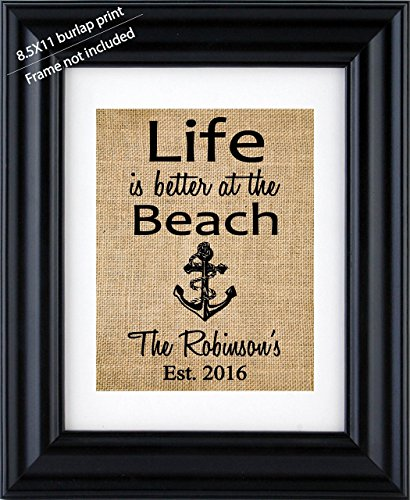 """""""Life is better at the Beach"""" Burlap wall decor, Beach House decor, Beach house Anchor sign print, Beach Art - House warming gift- 1 M (Frame not Included)"""
