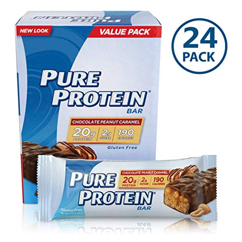 Pure Protein Bars, High Protein, Nurtritious Snacks to Support Energy, Low Sugar, Gluten Free, Chocolate Peanut Caramel, 1.76oz, 24 Pack