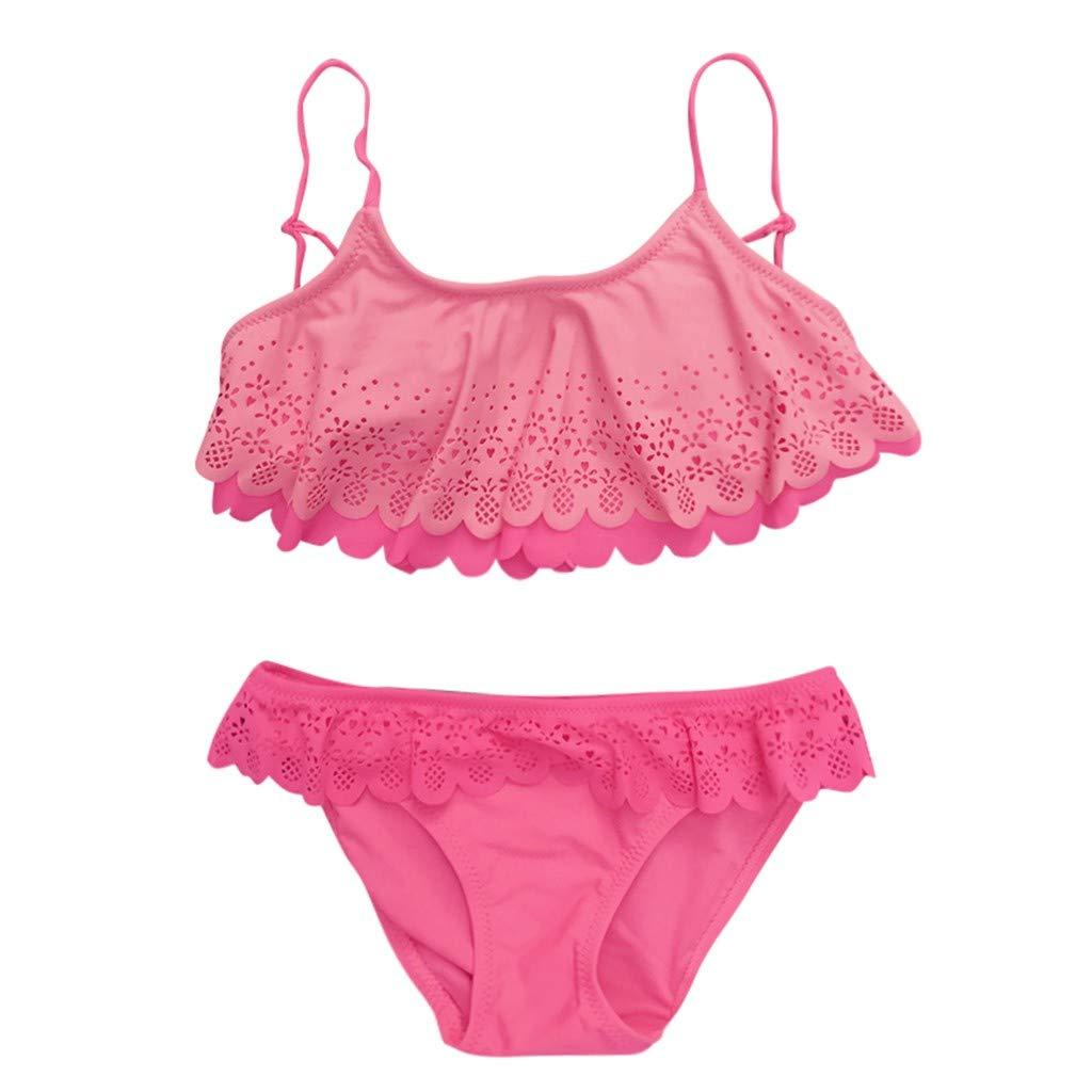 Malloom Bikini de Traje de ba/ño con Abertura Lateral de Encaje con Volantes Huecos Bikini para Traje de ba/ño ni/ña
