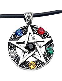 Elemental Crystal Wiccan Pagan Magic Star Pentacle Pentagram Pewter Pendant
