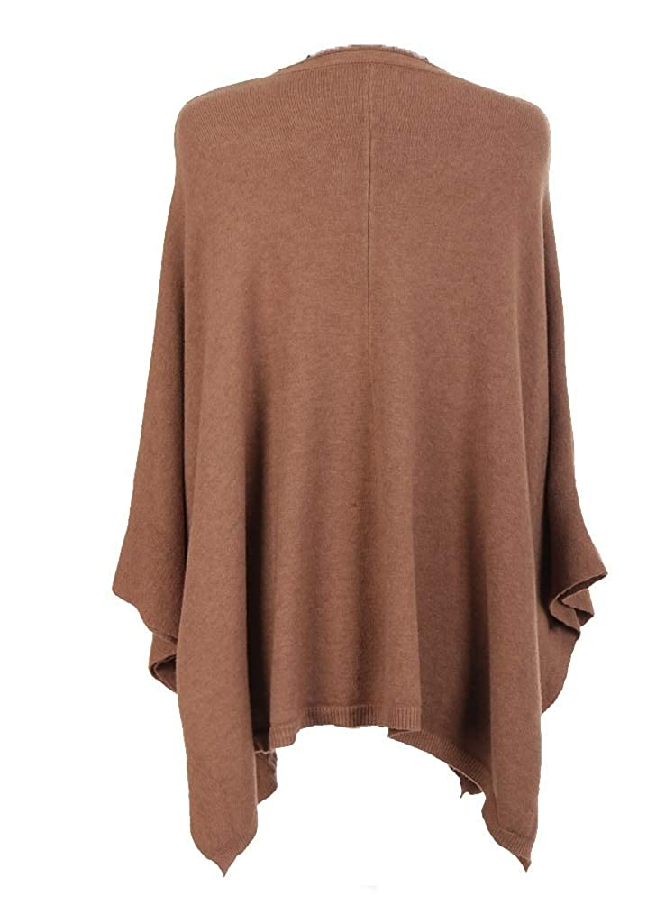 OgLuxe Ladies Womens Italian Lagenlook Plain Side Button Detailing Front Pockets Cable Knit Cosy Quirky Poncho Plus Size UK 16-22 L//XL//XXL