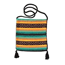 Peyote Style Popular Fiesta Carry On Shoulder Bag . Beautiful Hand-Woven Acrylic Mexican Peyote Design in Vivid Colors