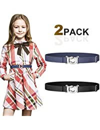 Kids Toddler Belt Elastic Stretch Adjustable Belt For Boys and Girls with Silver Square Buckle 2 Pack By JASGOOD