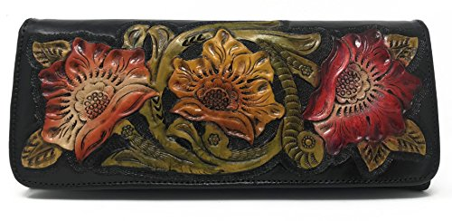 Havana Vintage Floral Artisan Leather Handmade Clutch Convertible Crossbody Designer Gift for Women (Ebony) (Envelope Style Convertible Clutch)