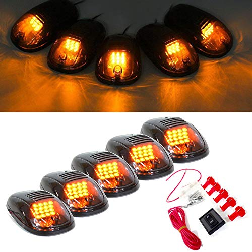 (5 Pcs Cab Marker Clearance Light Smoke Lens Covers 16 Amber Led Lamp with Base Wire for 2003-2016 Dodge Ram 1500/2500 /3500/4500 /5500)