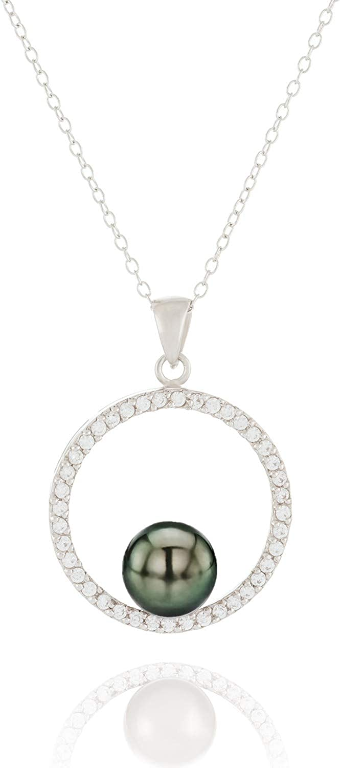 Handpicked AA White 8-9mm Freshwater Cultured Pearl Sterling Silver Rhodium-Plated Pendant on a 17 Chain