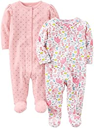 Baby Girls 2-Pack Cotton Footed Sleep and Play