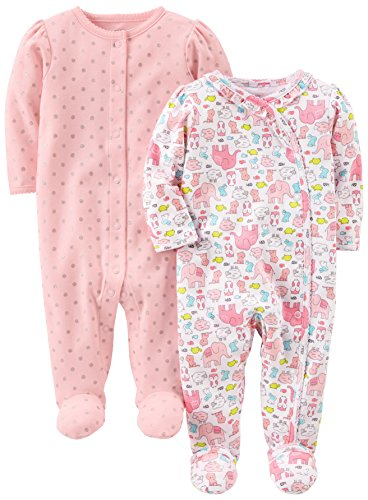 Simple Joys by Carter's Baby Girls' 2-Pack Cotton Footed Sleep and Play, Animals/Pink Dot, 0-3 Months