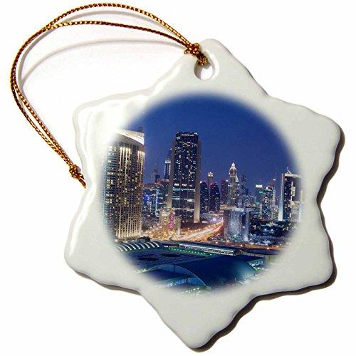 3dRose Danita Delimont - Cities - UAE, Downtown Dubai. Dubai Mall - 3 inch Snowflake Porcelain Ornament (orn_277101_1) by 3dRose
