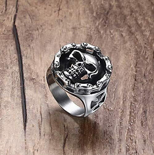 - Campton Fashion Skull Biker Size 7-12 Silver Band Stainless Steel Mens Punk Cool Rings | Model RNG - 44 | 12