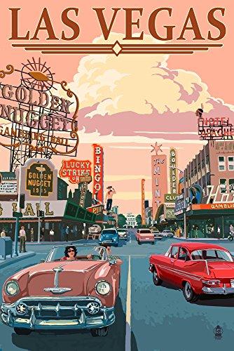 Las Vegas Old Strip Scene (9x12 Art Print, Wall Decor Travel Poster)