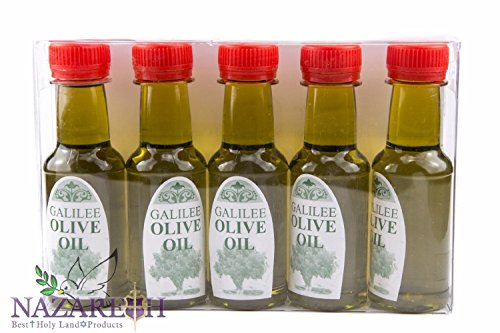 Set Of 5 Bottles Hand made Olive Oil Of Galilee 1.35 Fl. Oz Organic Holy Land Israel by Holy Land Gifts